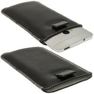 iGadgitz Black Genuine Leather Pouch Case Cover with Elasticated Pull Tab Release System for HTC One M7