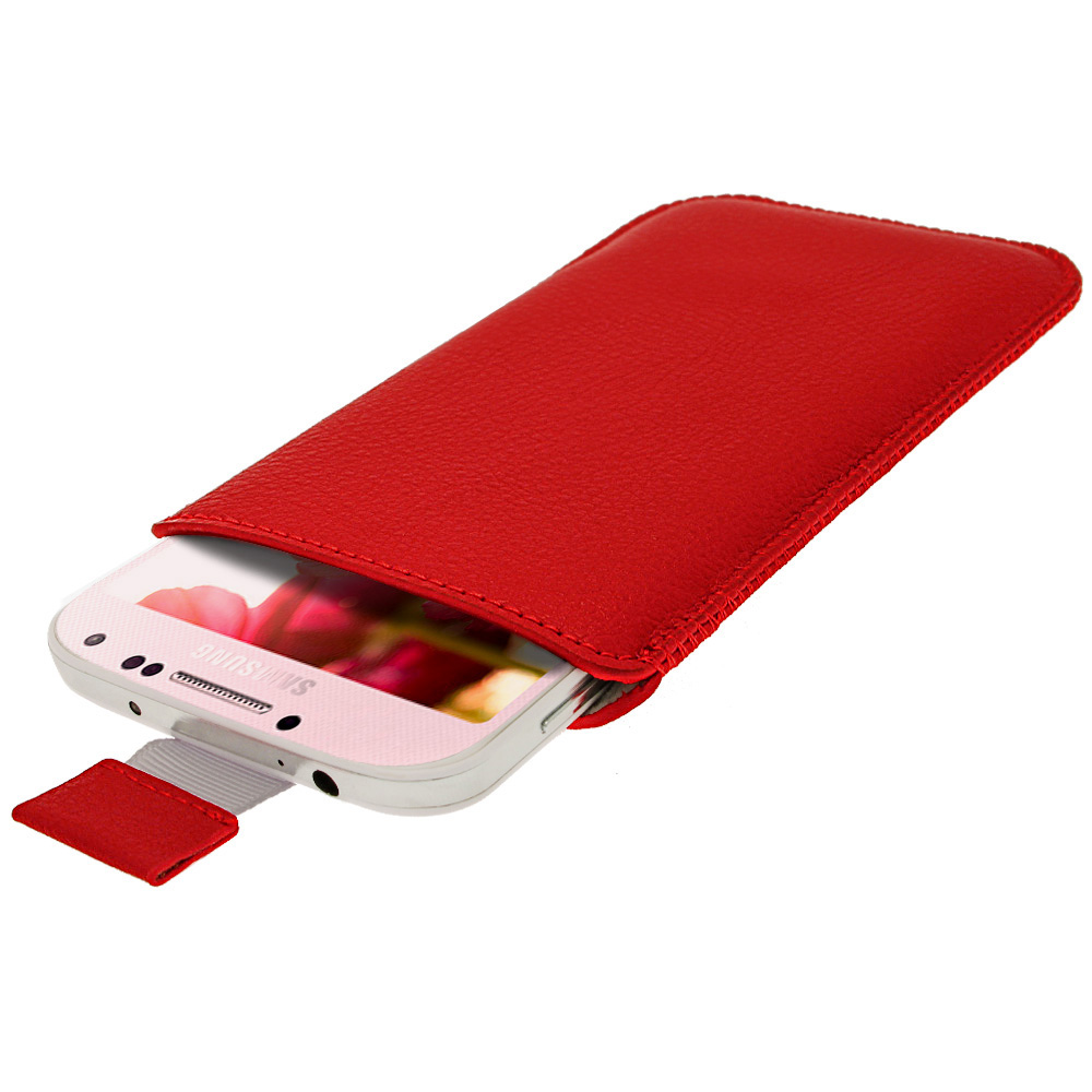 iGadgitz Red Leather Pouch Case Cover for Samsung Galaxy S4 IV I9500 Android Smartphone Mobile Phone