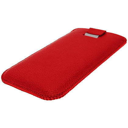 iGadgitz Red Leather Pouch Case Cover for Samsung Galaxy S4 IV I9500 Android Smartphone Mobile Phone Thumbnail 3