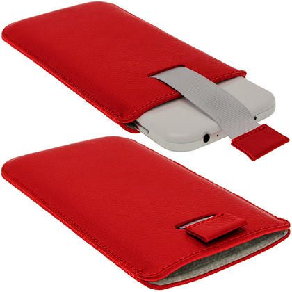 iGadgitz Red Leather Pouch Case Cover for Samsung Galaxy S4 IV I9500 Android Smartphone Mobile Phone Thumbnail 2
