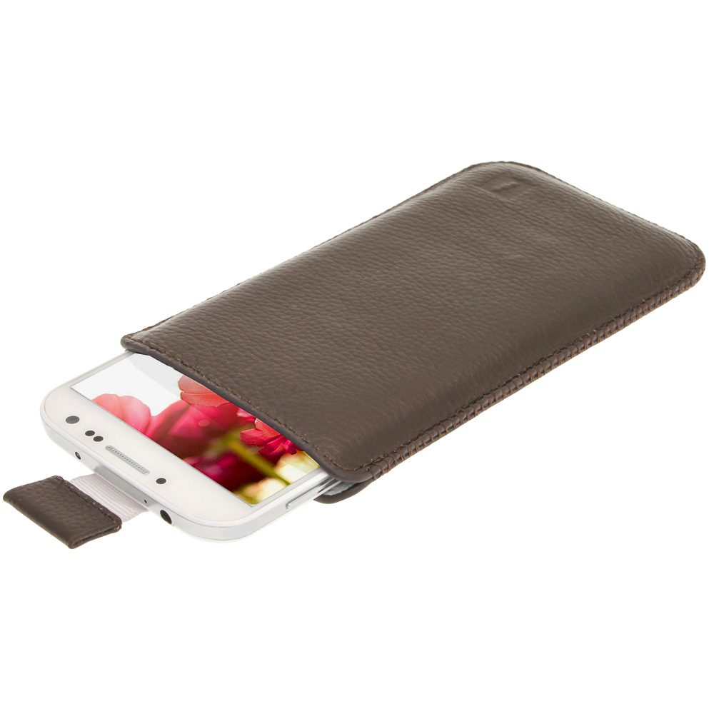 iGadgitz Brown Leather Pouch Case Cover for Samsung Galaxy S4 IV I9500 Android Smartphone Mobile Phone