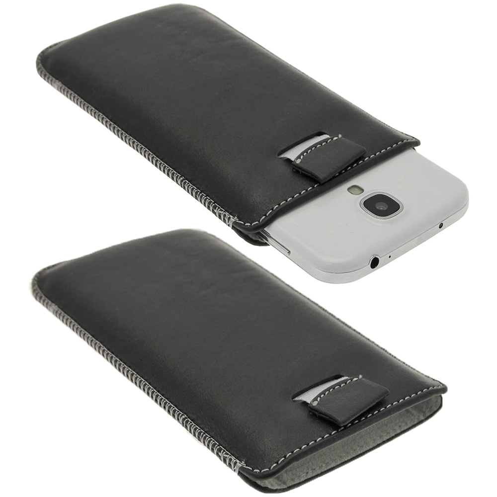 iGadgitz Black Genuine Leather Pouch Case Cover with Elasticated Pull Tab Release System for Samsung Galaxy S4 IV I9500