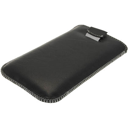 iGadgitz Black Genuine Leather Pouch Case Cover with Elasticated Pull Tab Release System for Samsung Galaxy S4 IV I9500 Thumbnail 3