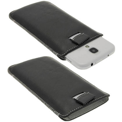 iGadgitz Black Genuine Leather Pouch Case Cover with Elasticated Pull Tab Release System for Samsung Galaxy S4 IV I9500 Thumbnail 1