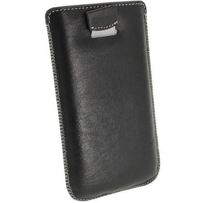 iGadgitz Black Genuine Leather Pouch Case Cover with Elasticated Pull Tab Release System for Samsung Galaxy S4 IV I9500 Thumbnail 4