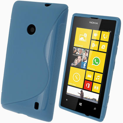 iGadgitz S Line Blue Gel Case for Nokia Lumia 520 + Screen Protector Thumbnail 1