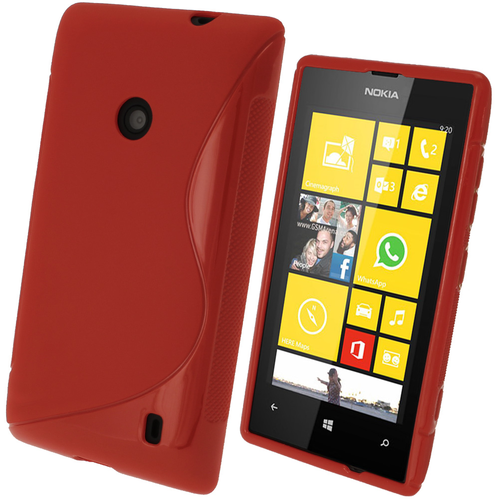 iGadgitz S Line Red Gel Case for Nokia Lumia 520 + Screen Protector