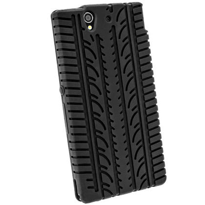 iGadgitz Black Silicone Skin Case Cover with Tyre Tread Design for Sony Xperia Z + Screen Protector Thumbnail 3