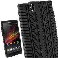 iGadgitz Black Silicone Skin Case Cover with Tyre Tread Design for Sony Xperia Z + Screen Protector