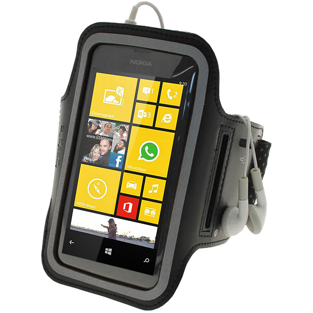 iGadgitz Black Reflective Anti-Slip Neoprene Sports Armband for Nokia Lumia 520 530