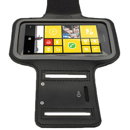 iGadgitz Black Reflective Anti-Slip Neoprene Sports Armband for Nokia Lumia 520 530 Thumbnail 5