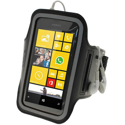 iGadgitz Black Reflective Anti-Slip Neoprene Sports Armband for Nokia Lumia 520 530 Thumbnail 1