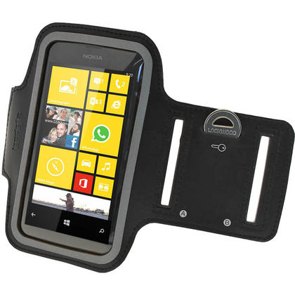 iGadgitz Black Reflective Anti-Slip Neoprene Sports Armband for Nokia Lumia 520 530 Thumbnail 3