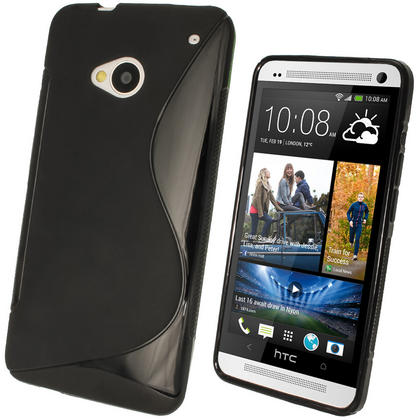 iGadgitz Dual Tone Black Gel Case for HTC One M7 + Screen Protector Thumbnail 1