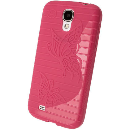 iGadgitz S Line Pink Gel Case with Textured Butterfly Design for Samsung Galaxy S4 IV I9500 I9505 + Screen Protector Thumbnail 3