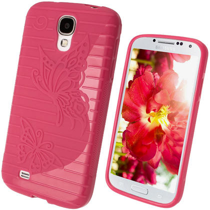 iGadgitz S Line Pink Gel Case with Textured Butterfly Design for Samsung Galaxy S4 IV I9500 I9505 + Screen Protector Thumbnail 1