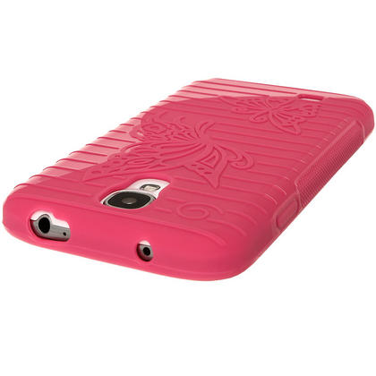 iGadgitz S Line Pink Gel Case with Textured Butterfly Design for Samsung Galaxy S4 IV I9500 I9505 + Screen Protector Thumbnail 5