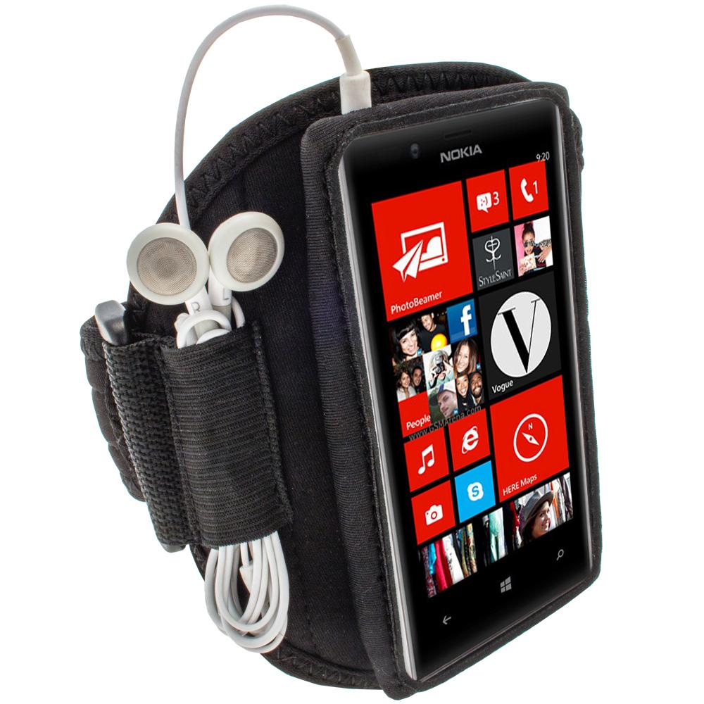 iGadgitz Black Neoprene Sports Gym Jogging Armband for Nokia Lumia 720 Windows Smartphone Mobile Phone