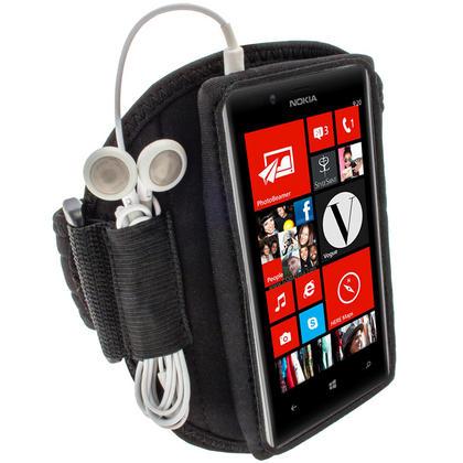 iGadgitz Black Neoprene Sports Gym Jogging Armband for Nokia Lumia 720 Windows Smartphone Mobile Phone Thumbnail 1