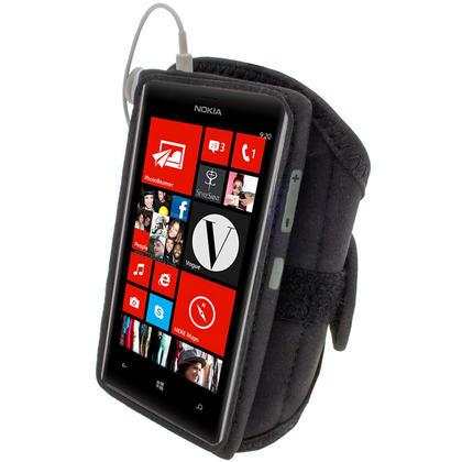 iGadgitz Black Neoprene Sports Gym Jogging Armband for Nokia Lumia 720 Windows Smartphone Mobile Phone Thumbnail 3