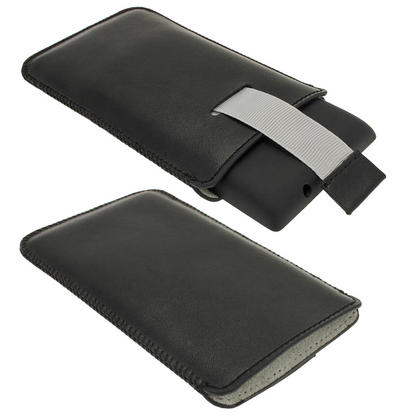 iGadgitz Black Leather Pouch Case Cover for Nokia Lumia 520 Windows Smartphone Mobile Phone Thumbnail 2