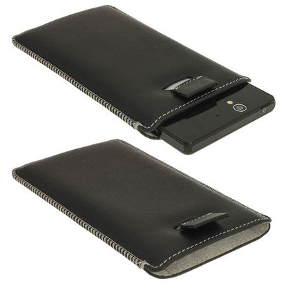 iGadgitz Black Genuine Leather Pouch Case Cover with Elasticated Pull Tab Release System for Sony Xperia Z Thumbnail 1