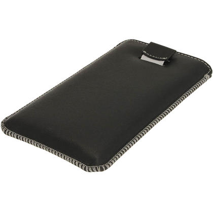 iGadgitz Black Genuine Leather Pouch Case Cover with Elasticated Pull Tab Release System for Sony Xperia Z Thumbnail 3