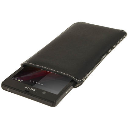 iGadgitz Black Genuine Leather Pouch Case Cover with Elasticated Pull Tab Release System for Sony Xperia Z Thumbnail 2
