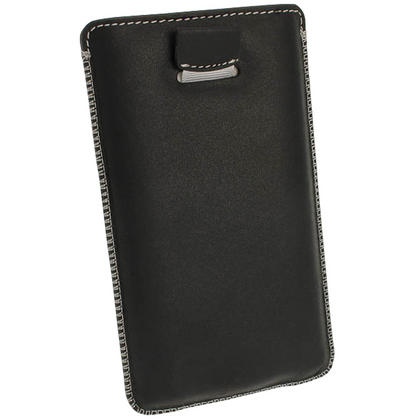 iGadgitz Black Genuine Leather Pouch Case Cover with Elasticated Pull Tab Release System for Sony Xperia Z Thumbnail 4