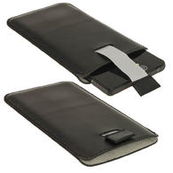 iGadgitz Black Leather Pouch Case Cover for Sony Xperia Z Android Smartphone Mobile Phone