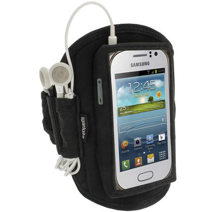 iGadgitz Black Neoprene Sports Gym Jogging Armband for Samsung Galaxy Fame S6810 Android Smartphone Mobile Phone Thumbnail 1