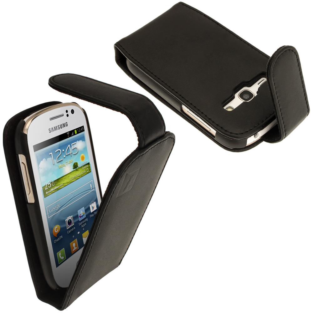 iGadgitz Black Leather Case Cover Holder for Samsung Galaxy Fame S6810 + Screen Protector