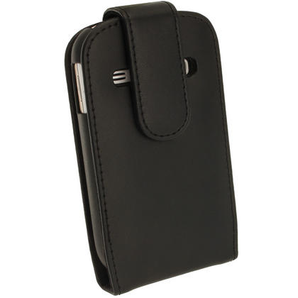 iGadgitz Black Leather Case Cover Holder for Samsung Galaxy Fame S6810 + Screen Protector Thumbnail 3
