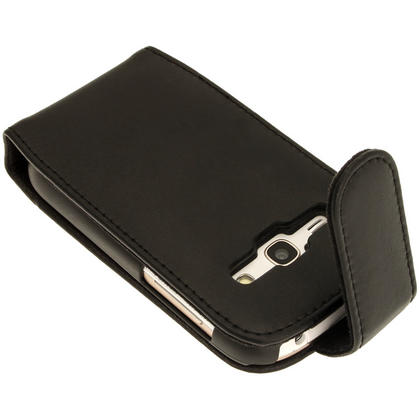 iGadgitz Black Leather Case Cover Holder for Samsung Galaxy Fame S6810 + Screen Protector Thumbnail 4