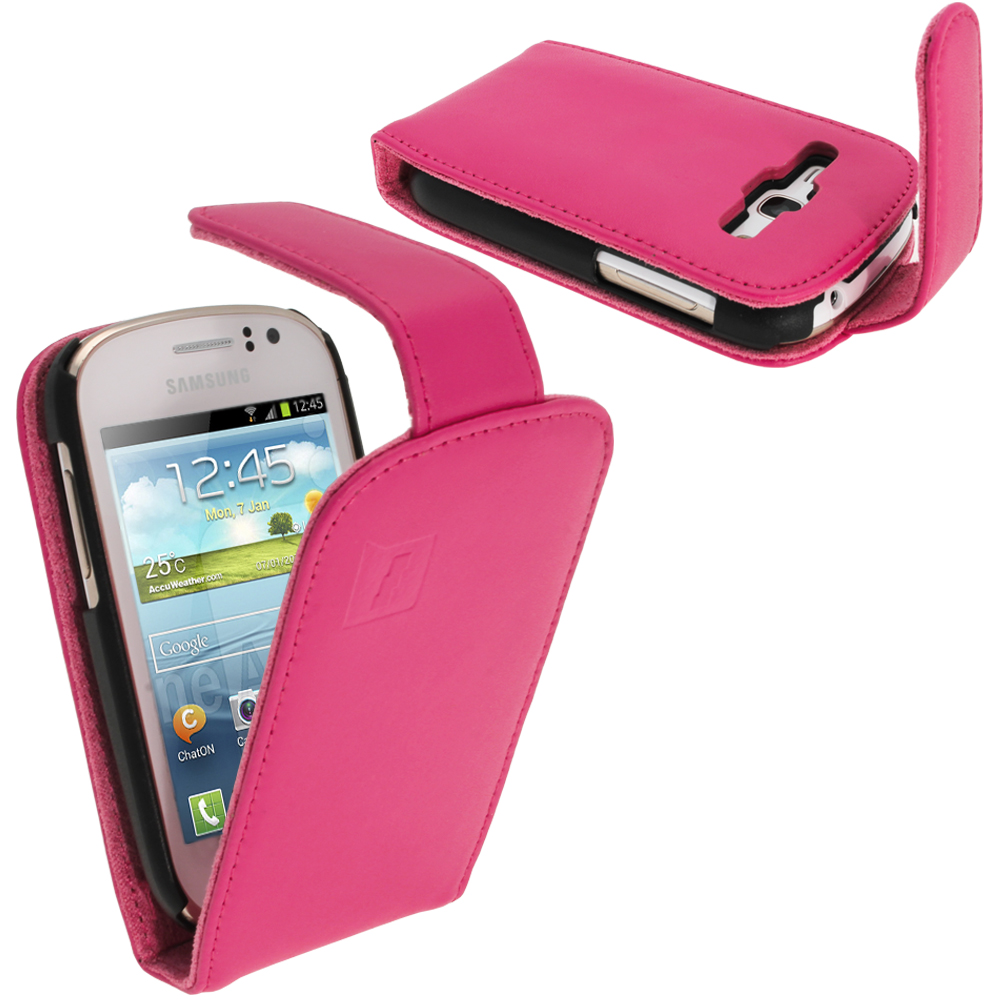 iGadgitz Pink Leather Case Cover Holder for Samsung Galaxy Fame S6810 Android Smartphone Mobile Phone + Screen Protector