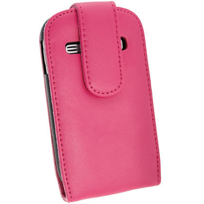 iGadgitz Pink Leather Case Cover Holder for Samsung Galaxy Fame S6810 Android Smartphone Mobile Phone + Screen Protector Thumbnail 4
