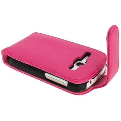 iGadgitz Pink Leather Case Cover Holder for Samsung Galaxy Fame S6810 Android Smartphone Mobile Phone + Screen Protector Thumbnail 3