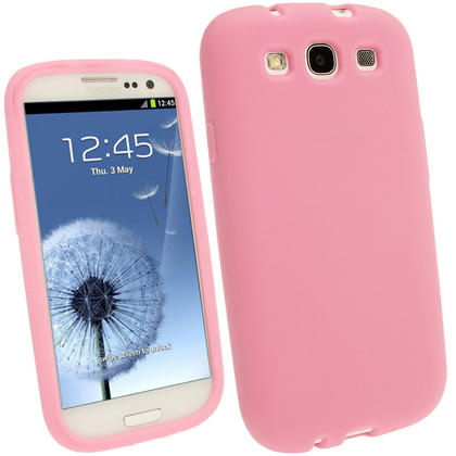 iGadgitz Baby Pink Silicone Skin Case Cover for Samsung Galaxy S3 III i9300 + Screen Protector Thumbnail 1