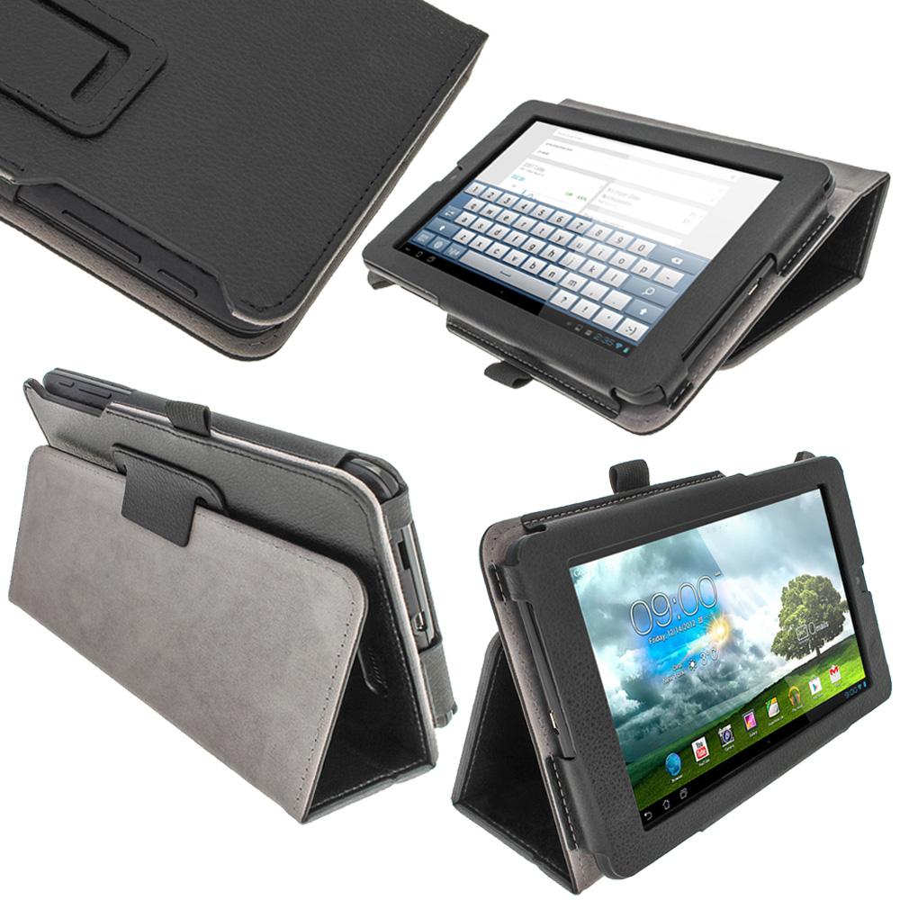 "iGadgitz Black 'Ergo-Portfolio' PU Leather Case for Asus MeMo Pad ME172V 7"" Tablet 16GB 32GB + Screen Protector"