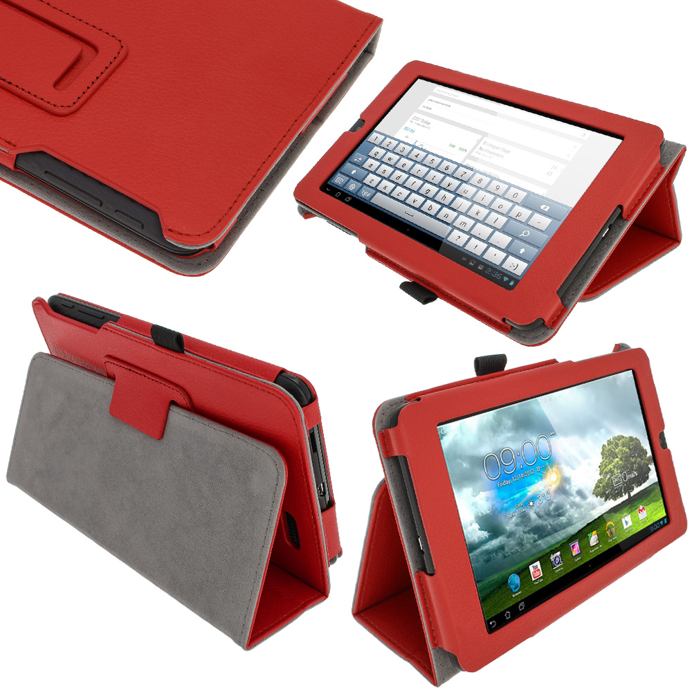 "iGadgitz Red 'Ergo-Portfolio' PU Leather Case for Asus MeMo Pad ME172V 7"" Tablet 16GB 32GB + Screen Protector"