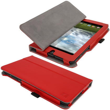 "iGadgitz Red 'Ergo-Portfolio' PU Leather Case for Asus MeMo Pad ME172V 7"" Tablet 16GB 32GB + Screen Protector Thumbnail 5"