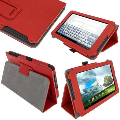 "iGadgitz Red 'Ergo-Portfolio' PU Leather Case for Asus MeMo Pad ME172V 7"" Tablet 16GB 32GB + Screen Protector Thumbnail 1"