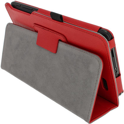 "iGadgitz Red 'Ergo-Portfolio' PU Leather Case for Asus MeMo Pad ME172V 7"" Tablet 16GB 32GB + Screen Protector Thumbnail 3"