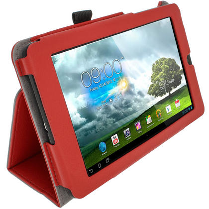 "iGadgitz Red 'Ergo-Portfolio' PU Leather Case for Asus MeMo Pad ME172V 7"" Tablet 16GB 32GB + Screen Protector Thumbnail 4"