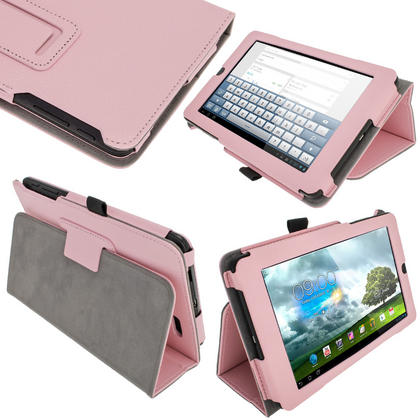 """iGadgitz Pink 'Ergo-Portfolio' PU Leather Case for Asus MeMo Pad ME172V 7"""" Tablet 16GB 32GB + Screen Protector Thumbnail 1"""