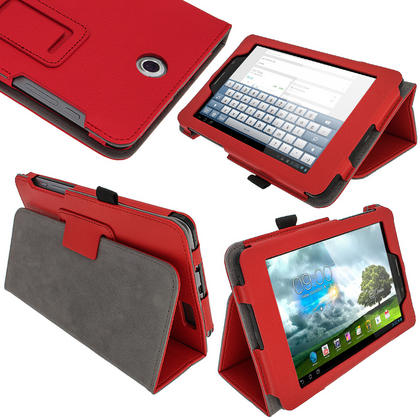 "iGadgitz Red 'Ergo-Portfolio' PU Leather Case for Asus Fonepad ME371MG 7"" Tablet 16GB 32GB + Screen Protector Thumbnail 1"