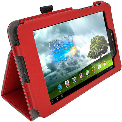 "iGadgitz Red 'Ergo-Portfolio' PU Leather Case for Asus Fonepad ME371MG 7"" Tablet 16GB 32GB + Screen Protector Thumbnail 4"