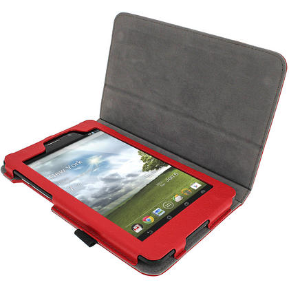 "iGadgitz Red 'Ergo-Portfolio' PU Leather Case for Asus Fonepad ME371MG 7"" Tablet 16GB 32GB + Screen Protector Thumbnail 2"