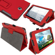 "iGadgitz Red 'Ergo-Portfolio' PU Leather Case for Asus Fonepad ME371MG 7"" Tablet 16GB 32GB + Screen Protector"