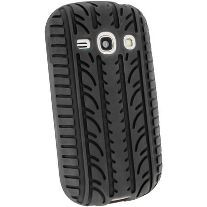 iGadgitz Black Silicone Skin Case Cover with Tyre Tread Design for Samsung Galaxy Fame S6810 + Screen Protector Thumbnail 3